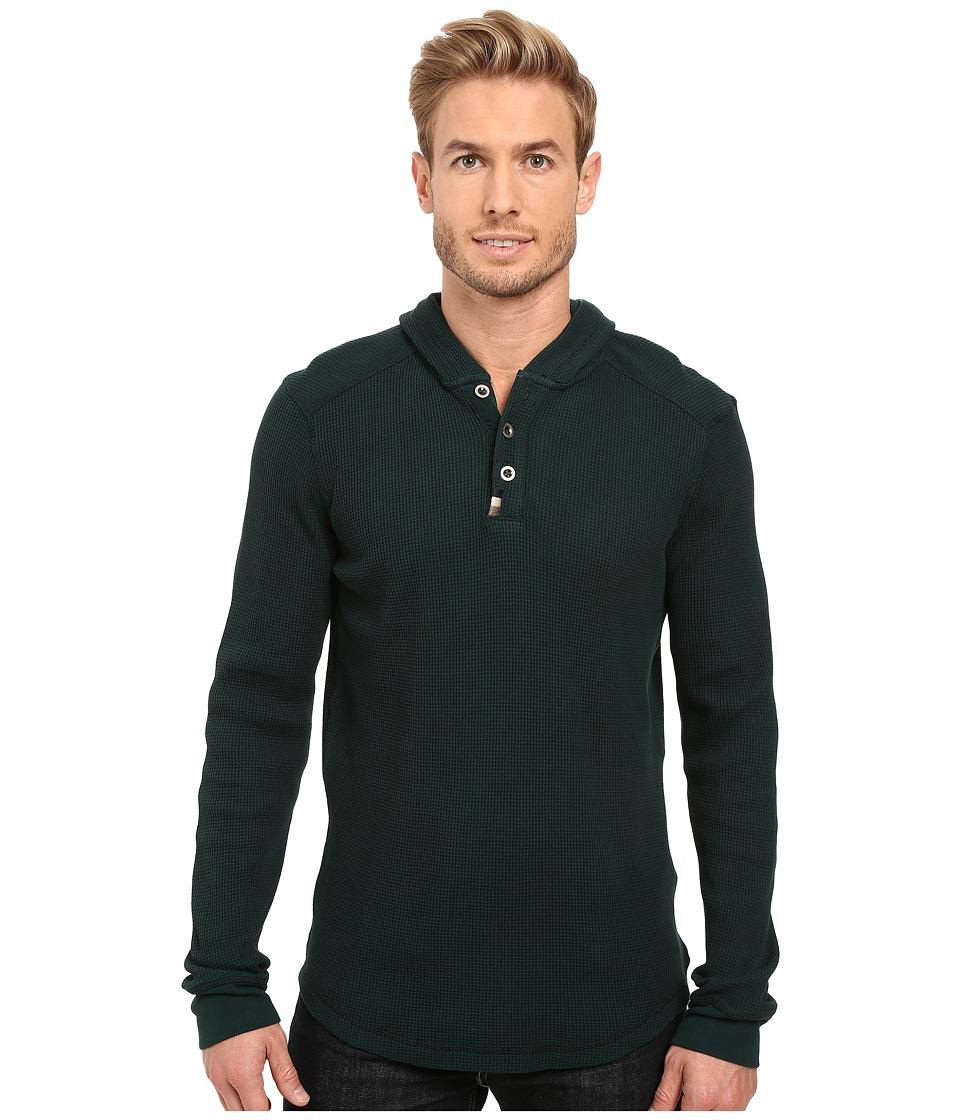 Mod-o-doc - Santa Cruz Long Sleeve Henley Hoodie (Hunter) Men