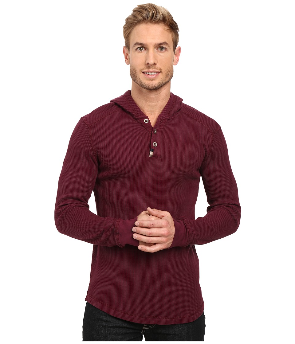 Mod-o-doc - Santa Cruz Long Sleeve Henley Hoodie (Wine) Men