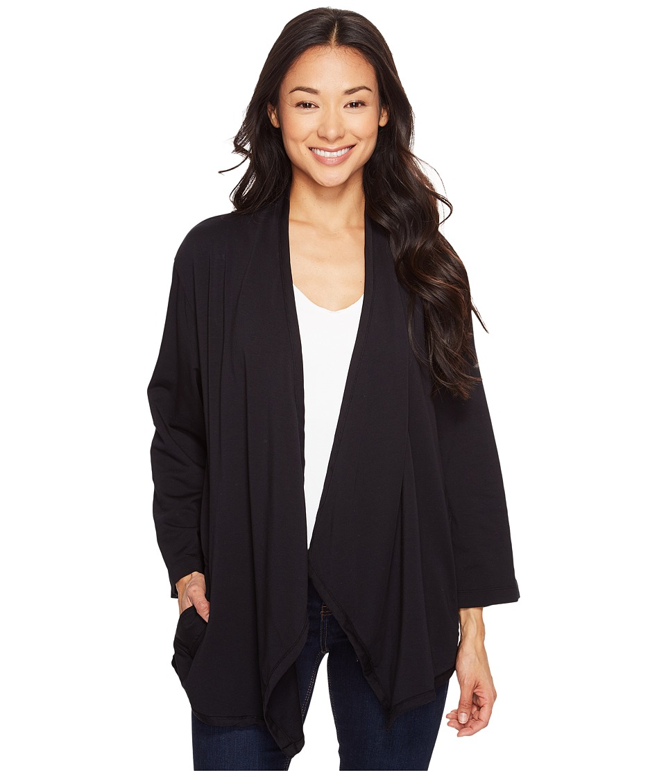 Mod-o-doc Cotton Modal Spandex French Terry Open Front Cardigan (Black) Women