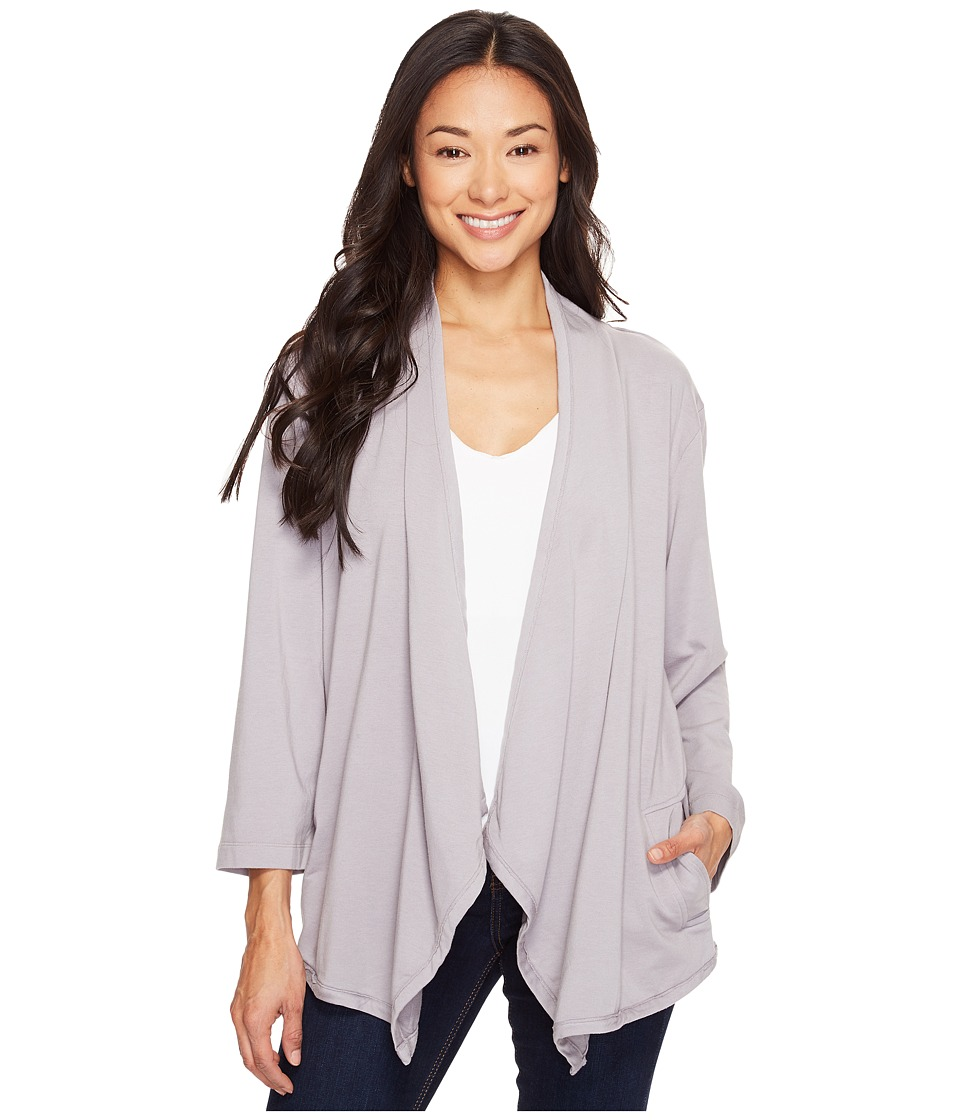 Mod-o-doc Cotton Modal Spandex French Terry Open Front Cardigan (Silver) Women