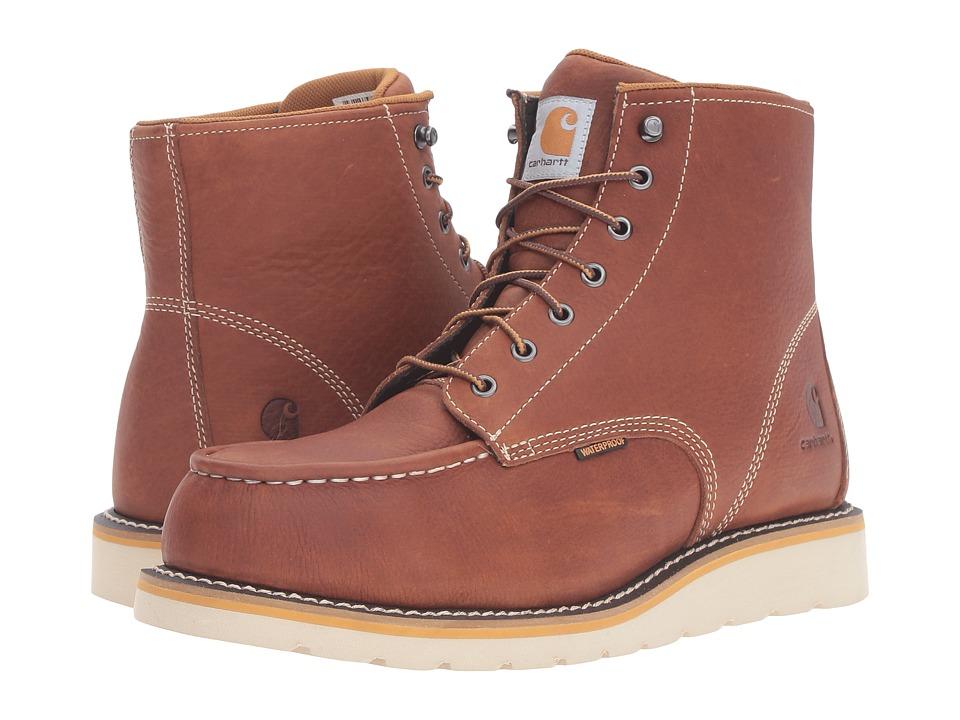 Carhartt 6-Inch Steel Toe Waterproof Wedge Boot (Tan Oil Tanned Leather) Men