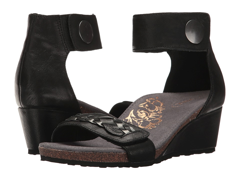 Aetrex Becca Ankle Strap Wedge (Black) Women