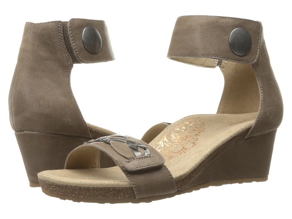Aetrex Becca Ankle Strap Wedge (Stone) Women
