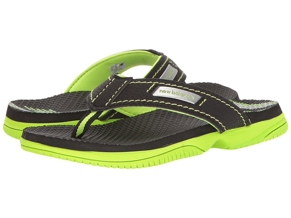New Balance Kids Mojo Thong (Little Kid/Big Kid) (Black/Lime) Boys Shoes