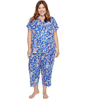 LAUREN Ralph Lauren - Plus Size Short Sleeve Notch Collar Capri PJ