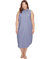 LAUREN Ralph Lauren - Plus Size Sleeveless Cotton Poplin Ballet Gown