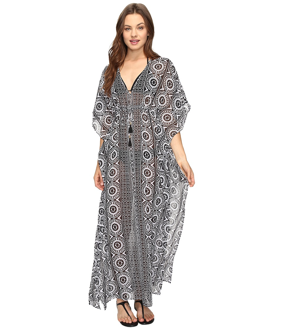 Tommy Bahama Geo Relief Ankle Length Tunic Cover-Up (Black/White) Women