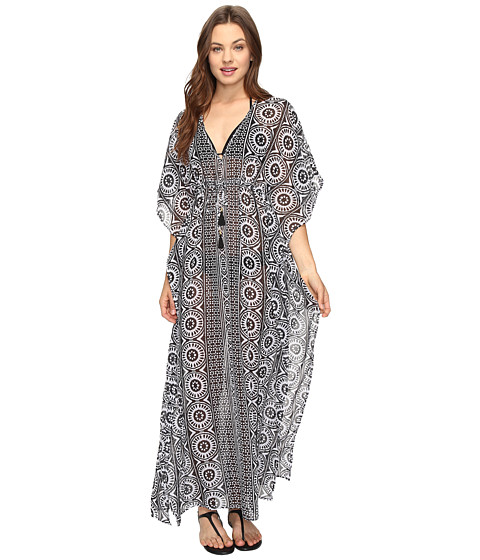 Tommy Bahama Geo Relief Ankle Length Tunic Cover-Up - Black/White