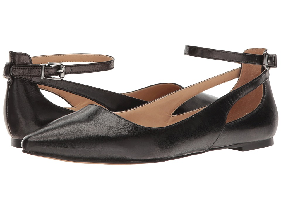 1950s Style Shoes Franco Sarto - Sylvia Black Leather Womens Dress Flat Shoes $88.95 AT vintagedancer.com