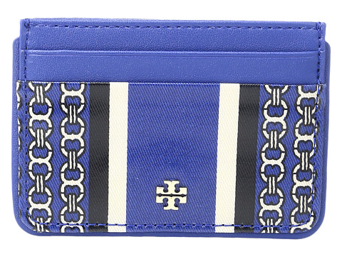 Tory Burch Gemini Link Slim Card Case - Jewel Blue Gemini Link Stripe