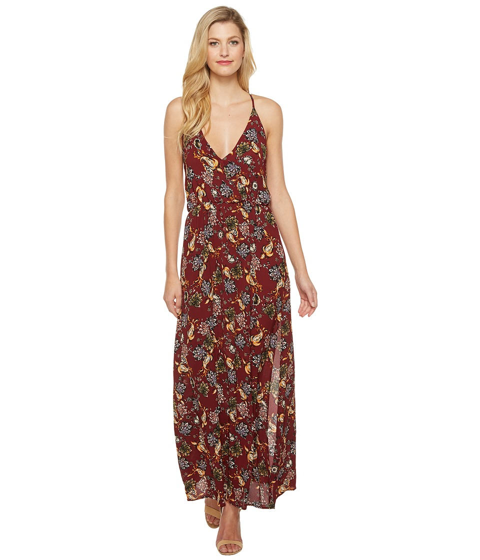 Brigitte Bailey Amina Spaghetti Strap Floral Maxi Dress (Burgundy) Women