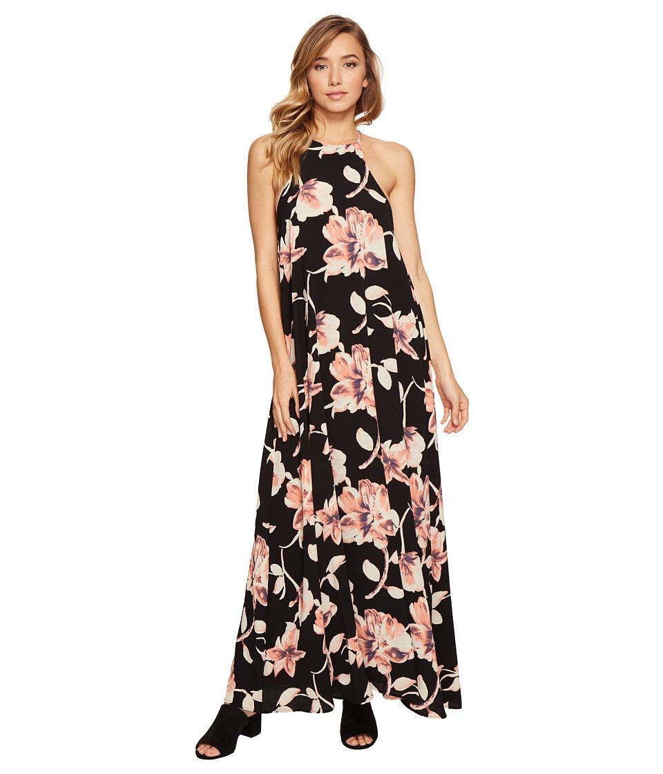 Brigitte Bailey Capri High Neck Spaghetti Strap Maxi Dress (Black/Pink) Women