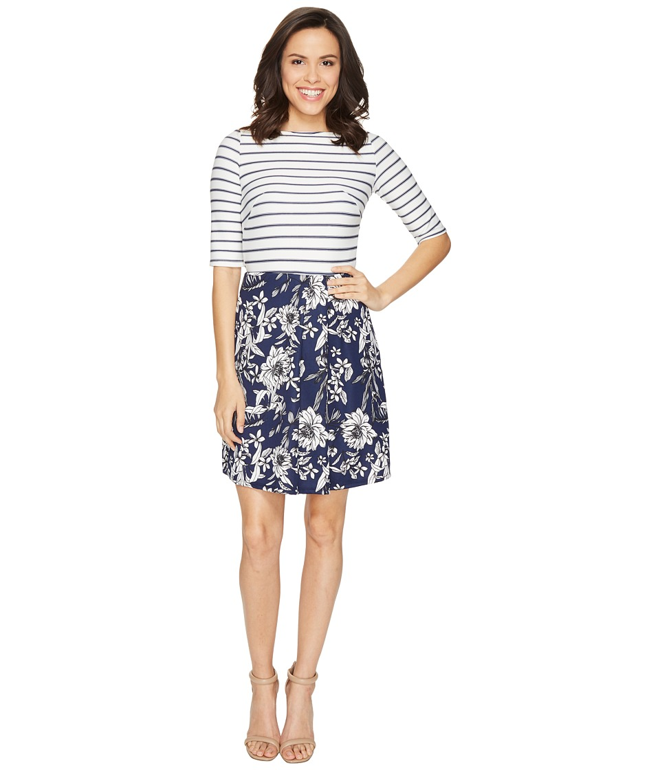 Christin Michaels Anya 3/4 Sleeve Stripe Top Dress (Ivory/Navy) Women