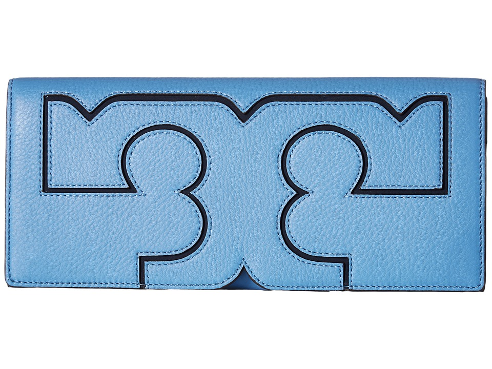 Tory Burch Serif Clutch (Montego Blue) Clutch Handbags