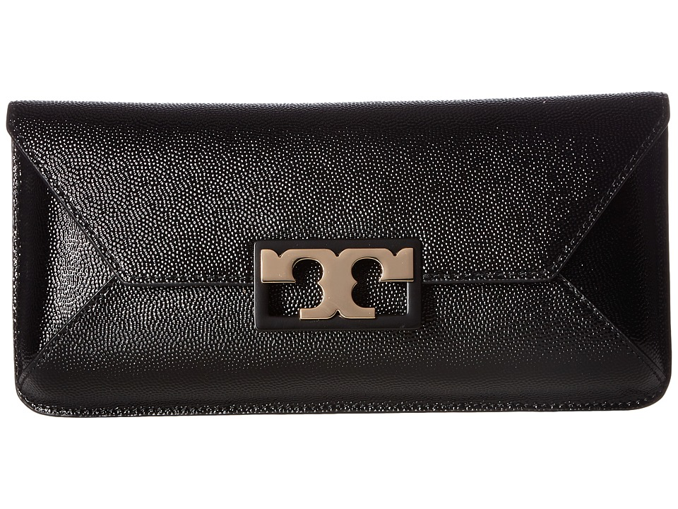 Tory Burch Gigi Patent Clutch (Black) Clutch Handbags