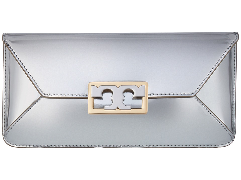 Tory Burch Gigi Metallic Clutch (Silver) Clutch Handbags