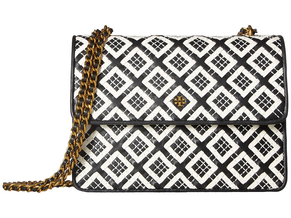 Tory Burch - Robinson Woven-Leather Convertible Shoulder (Black/New Ivory) Shoulder Handbags