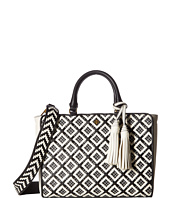 Tory Burch - Robinson Woven-Leather Small Zip Satchel