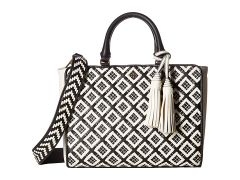 Tory Burch Robinson Woven-Leather Small Zip Satchel - Black/New Ivory