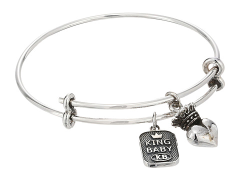King Baby Studio Adjustable Bangle Bracelet with Crowned Heart Charm - Silver
