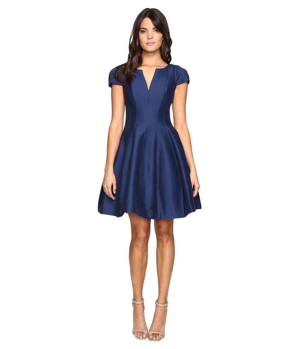 Halston Heritage Short Sleeve Notch Neck Dress with Tulip Skirt (Navy) Women