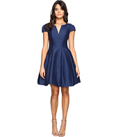 Halston Heritage - Short Sleeve Notch Neck Dress with Tulip Skirt