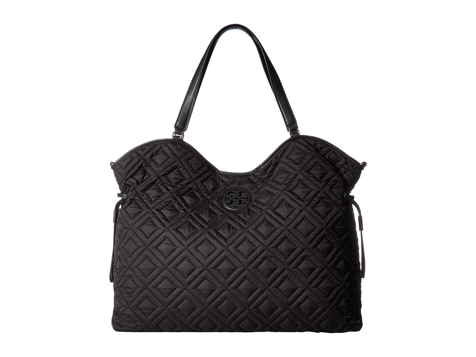 Tory Burch Marion Quilted Slouchy Baby Bag (Black) Bags