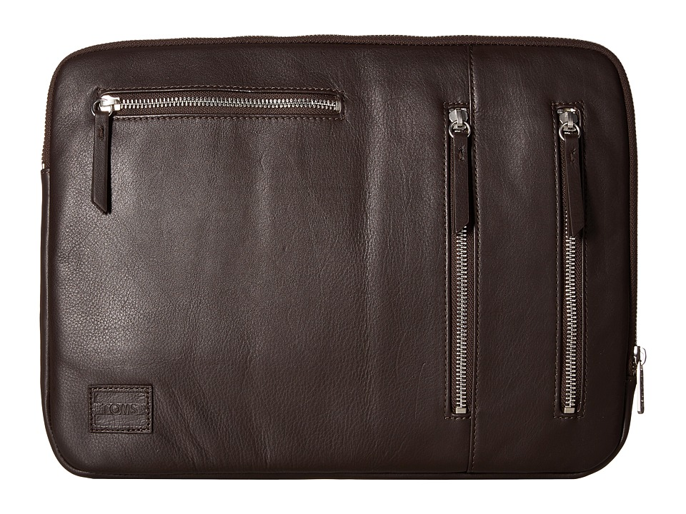 TOMS - Espresso Leather Computer Sleeve (Brown) Computer Bags