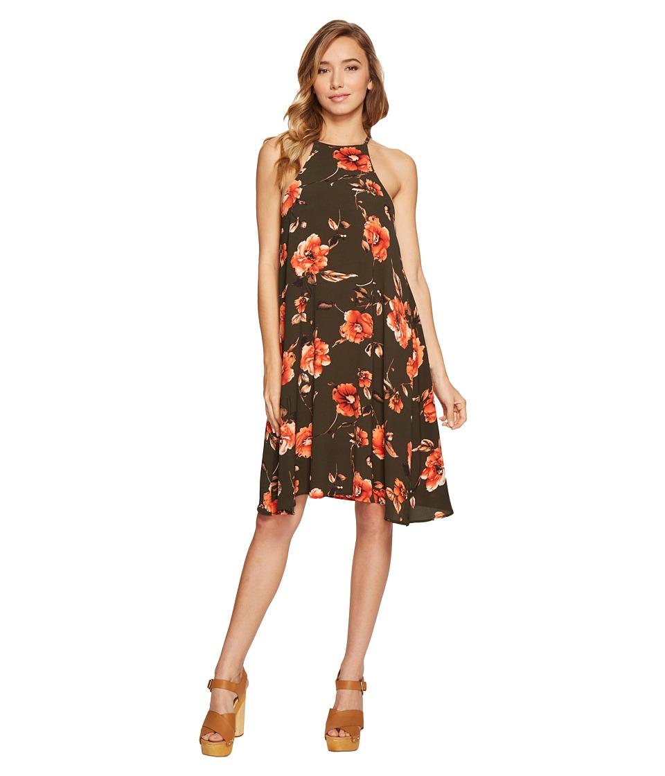 Brigitte Bailey Carey High Neck Spaghetti Strap Dress (Olive/Coral) Women