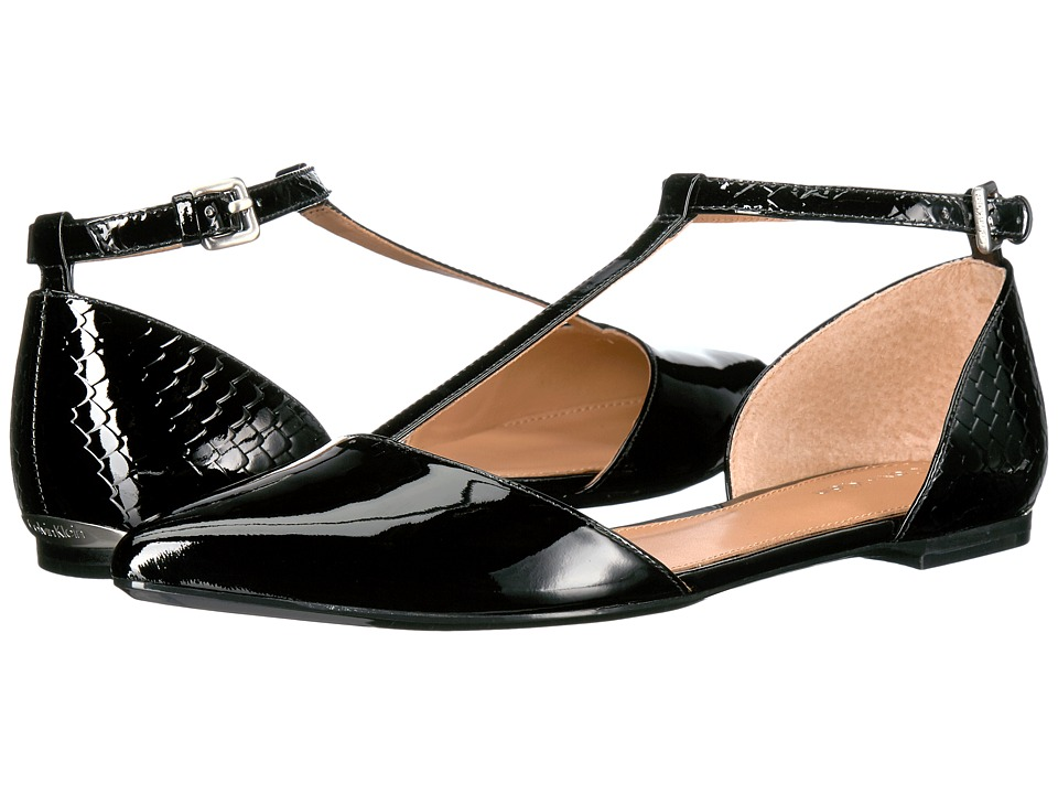 Vintage Style Shoes, Vintage Inspired Shoes Calvin Klein - Ghita Black Patent Womens Dress Flat Shoes $99.00 AT vintagedancer.com