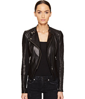 LAMARQUE - Paige Lamb Leather Stripped Leather Asymmetric Jacket