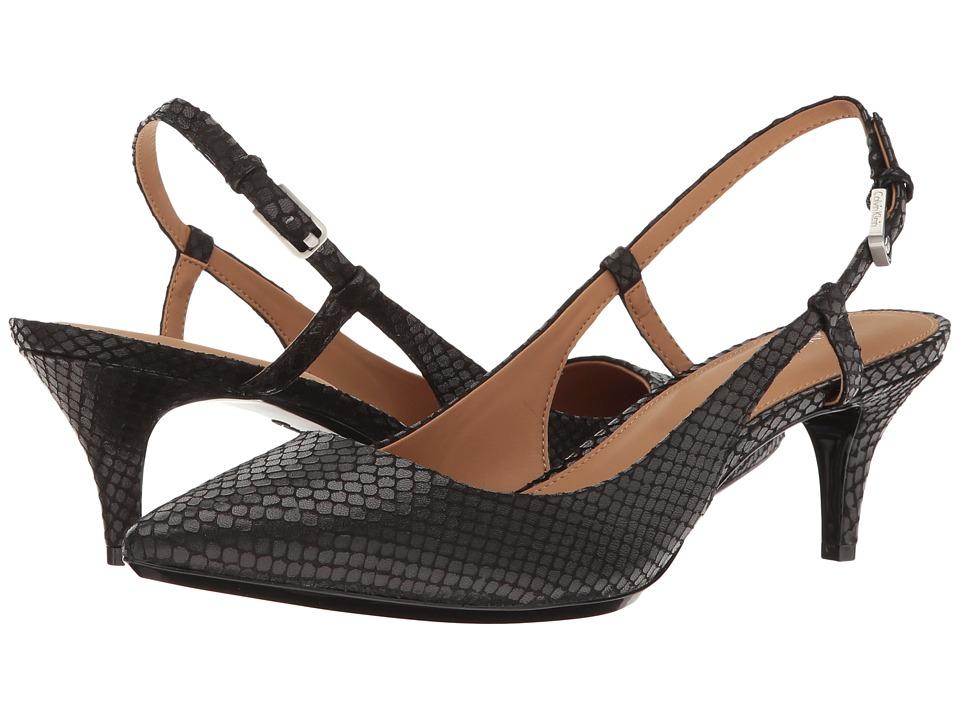 Calvin Klein Patsi (Black Snake Print Leather) High Heels