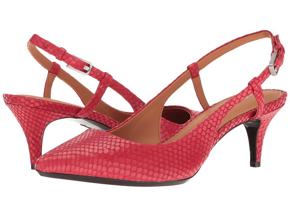 Calvin Klein Patsi (Lipstick Red Snake Print Leather) High Heels