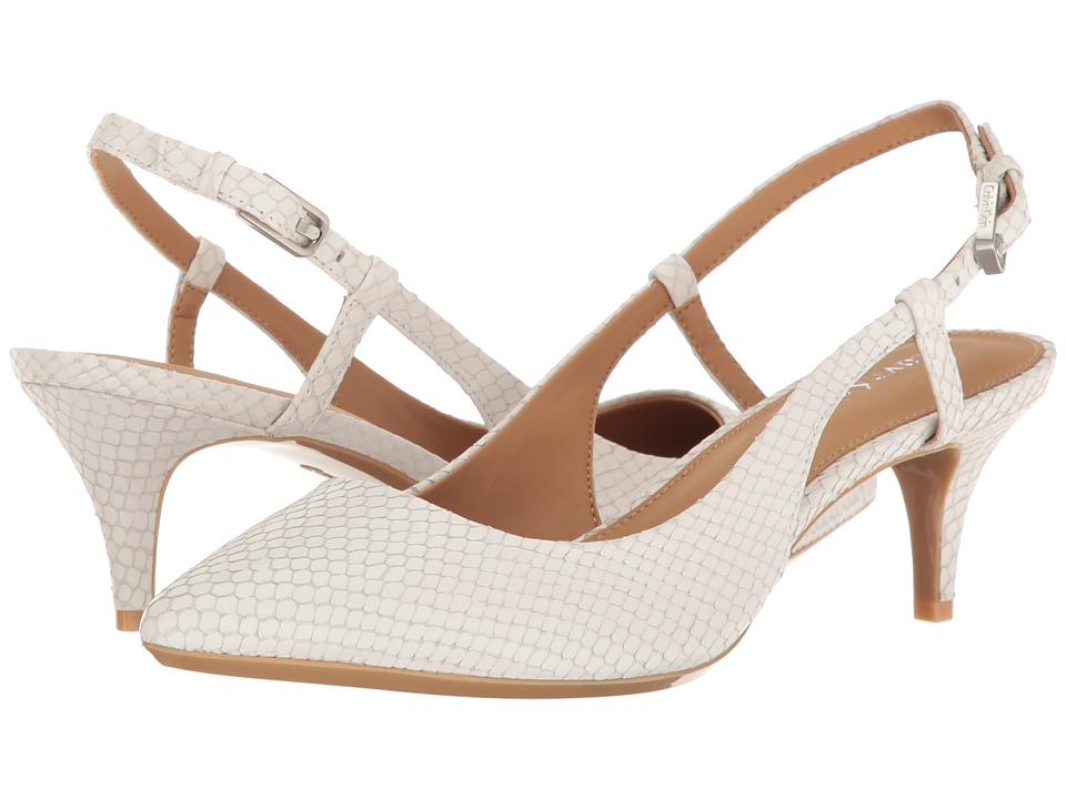 Calvin Klein Patsi (Platinum White Snake Print Leather) High Heels
