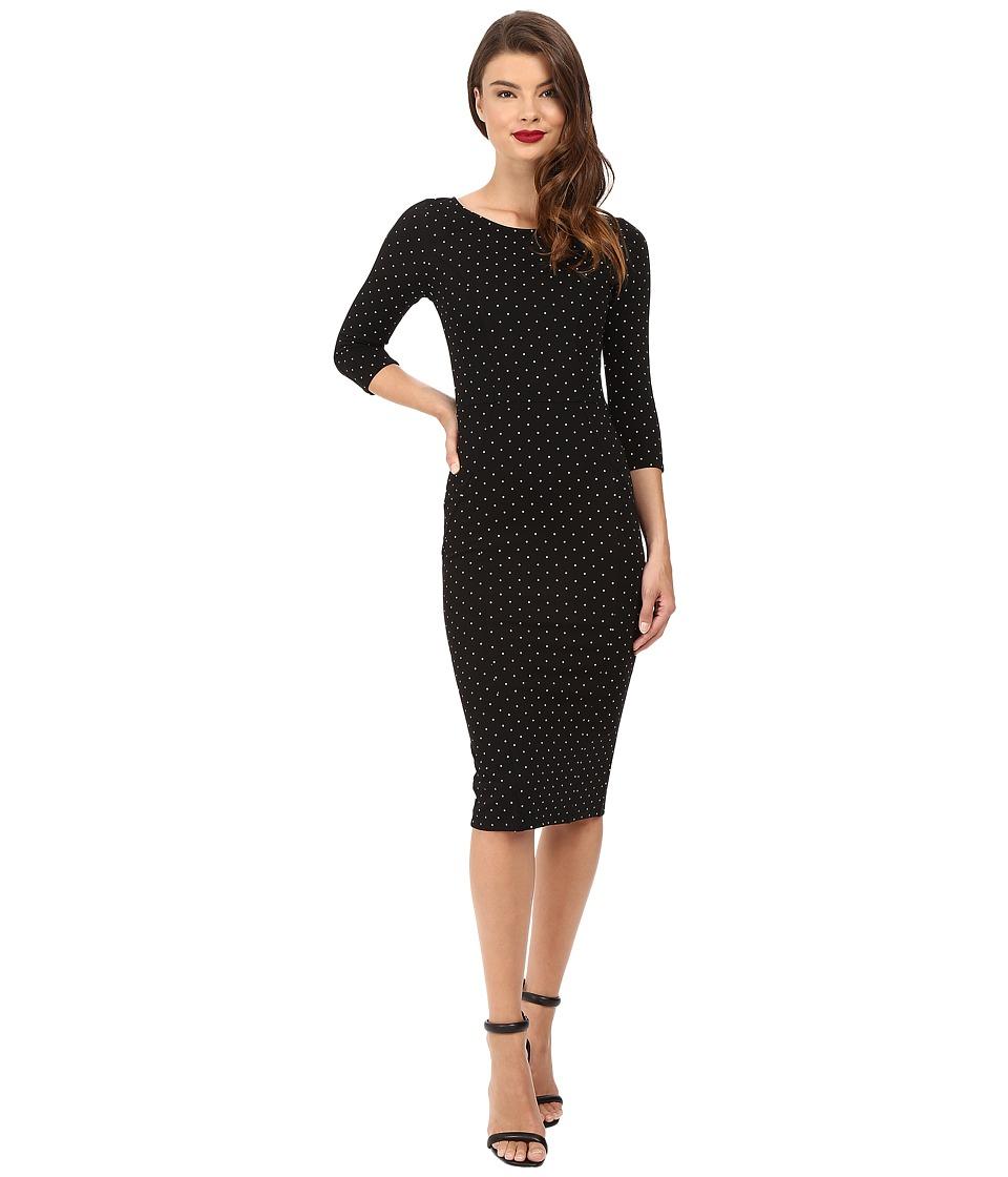 Unique Vintage Sleeved Knit Mod Wiggle Dress (Black Pin Dot) Women