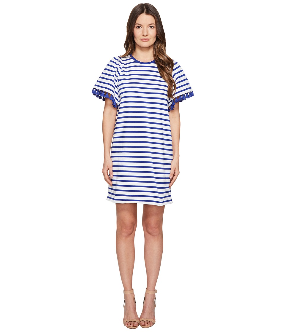 Kate Spade New York Broome Street Stripe Flutter Sleeve Dress (Off-White/Cobalt Blue) Women
