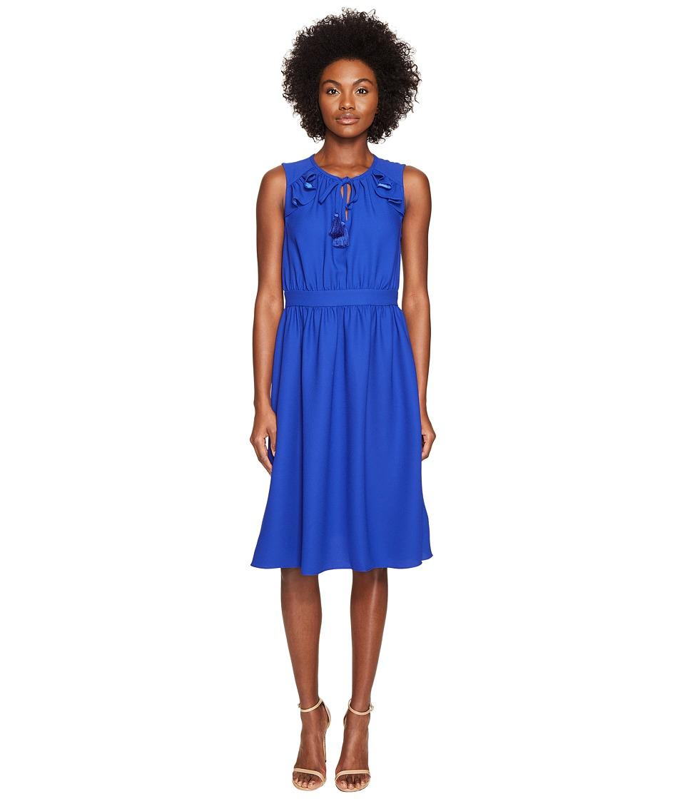 Kate Spade New York Rambling Roses Crepe Ruffle Fit and Flare Dress (Cobalt Blue) Women