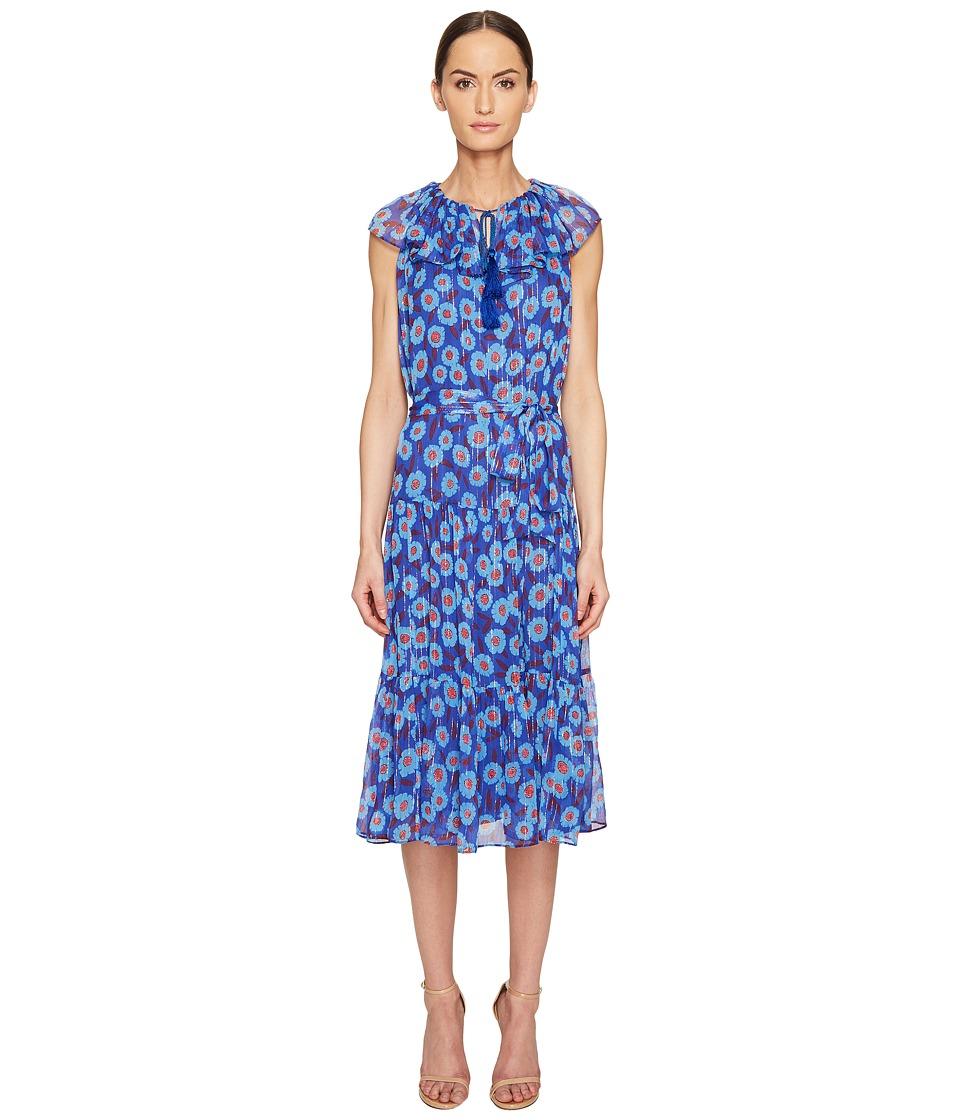 Kate Spade New York Full Plume Tangier Floral Chiffon Dress (Cobalt Blue) Women