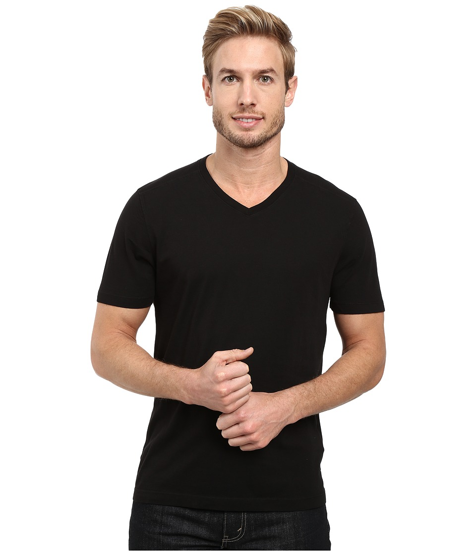 Agave Denim Agave Supima Vee Neck Short Sleeve Tee (Black) Men