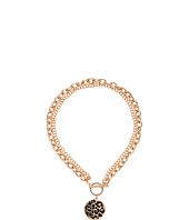 GUESS - Double Chain Toggle Front Neck with Black Disc Necklace