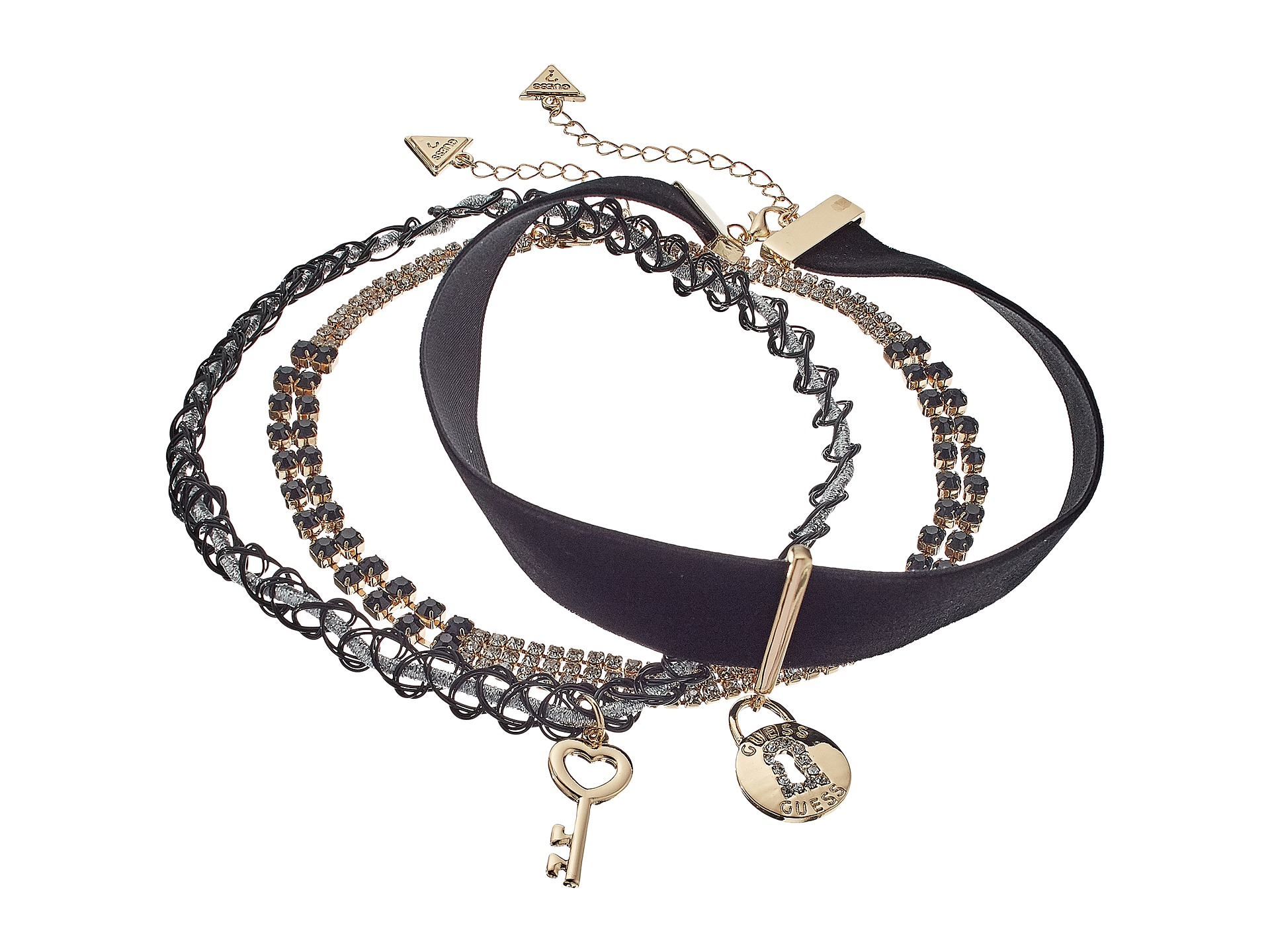 GUESS Choker Trio Metal and Cord with Key/Lock Necklace ...