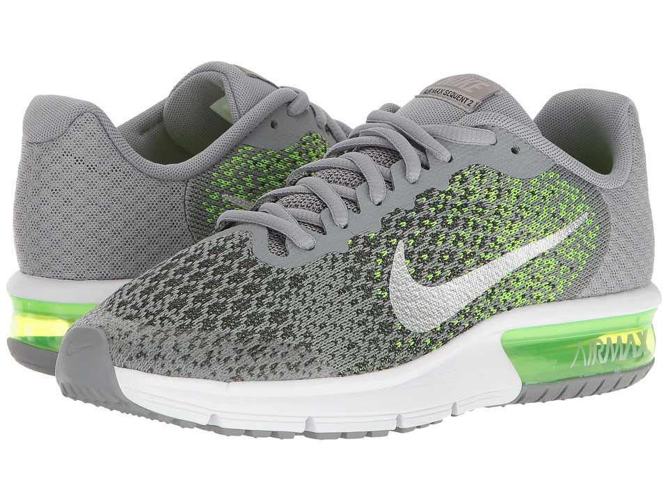 Nike Kids Air Max Sequent 2 (Big Kid) (Stealth/Metallic Silver/Electric Green) Boys Shoes