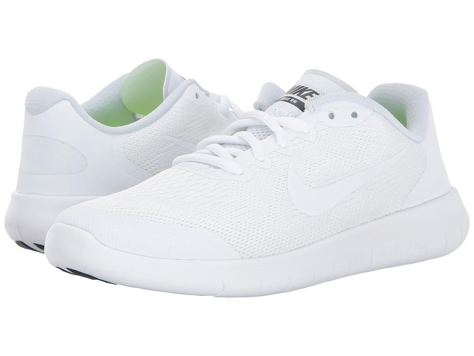Nike Kids Free RN 2 (Big Kid) (White/White/Black/Pure Platinum) Boys Shoes