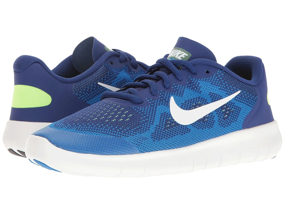 Nike Kids Free RN 2 (Big Kid) (Deep Royal Blue/White/Soar/Ghost Green) Boys Shoes