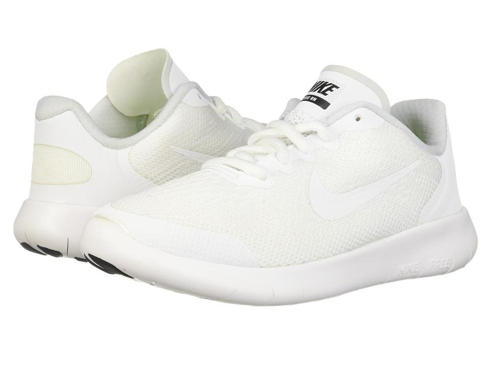 Nike Kids Free RN 2017 (Little Kid) (White/White/Black/Pure Platinum) Boys Shoes