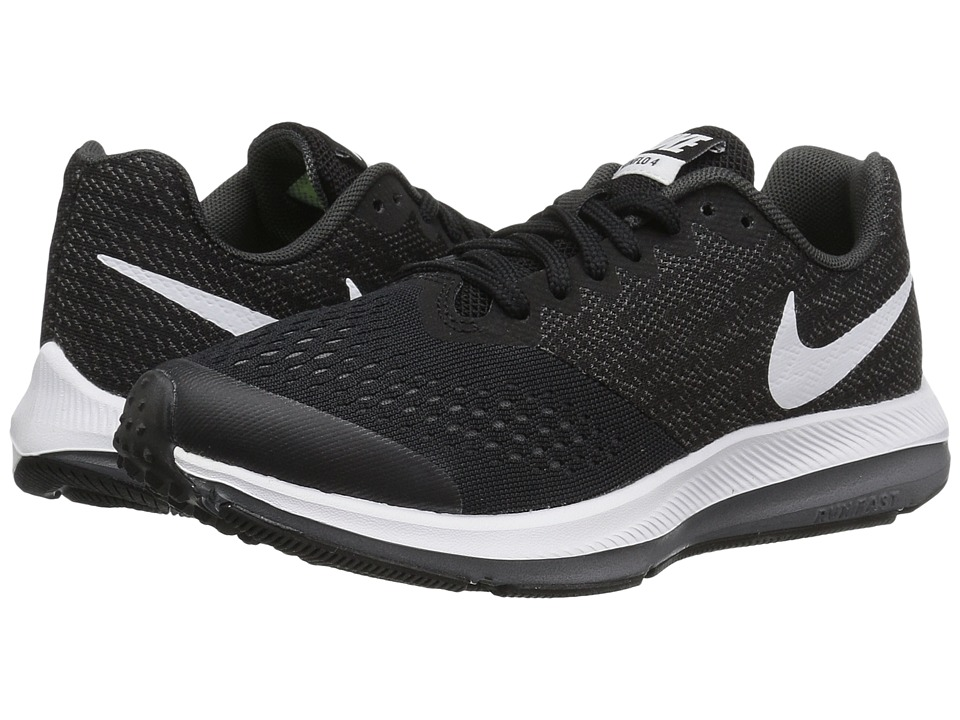 Nike Kids Zoom Winflo 4 (Little Kid/Big Kid) (Black/White/Dark Grey/Anthracite) Boys Shoes