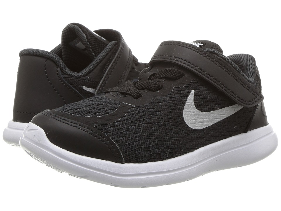 Nike Kids Flex RN 2017 (Infant/Toddler) (Black/Metallic Silver/Anthracite/White) Boys Shoes