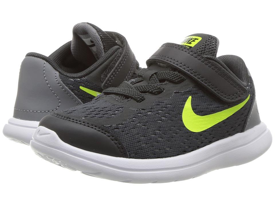 Nike Kids Flex RN 2017 (Infant/Toddler) (Anthracite/Volt/Cool Grey/Black) Boys Shoes