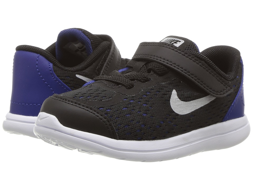 Nike Kids Flex RN 2017 (Infant/Toddler) (Black/Metallic Silver/Deep Royal Blue) Boys Shoes