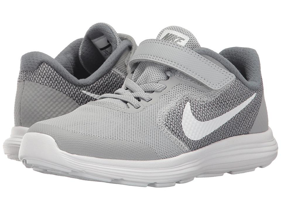 Nike Kids Revolution 3 (Little Kid) (Wolf Grey/White/Cool Grey) Boys Shoes